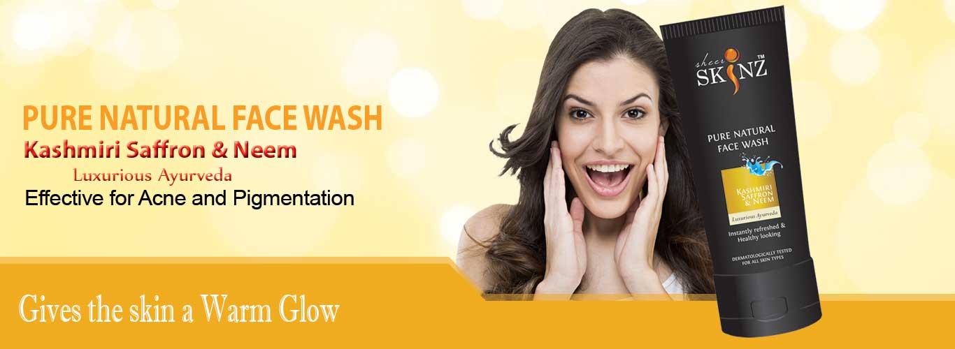 Pure Natural face wash Kashimiri Saffron Neem by sheerskinz